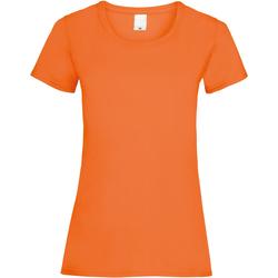 Textil Mulher T-Shirt mangas curtas Universal Textiles 61372 Laranja Brilhante