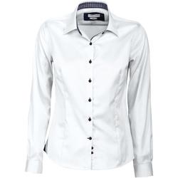Textil Mulher camisas J Harvest & Frost JF006 Branco / Marinha