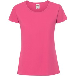 Textil Mulher T-Shirt mangas curtas Fruit Of The Loom 61424 Rosa Quente