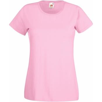 Textil Mulher T-Shirt mangas curtas Fruit Of The Loom 61372 Rosa claro