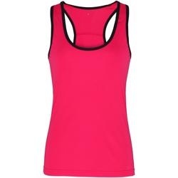 Textil Mulher Tops sem mangas Tridri TR023 Rosa quente / Preto