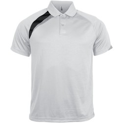 Textil Homem Polos mangas curta Kariban Proact PA457 Branco/ Preto/ Cinza Tempestade