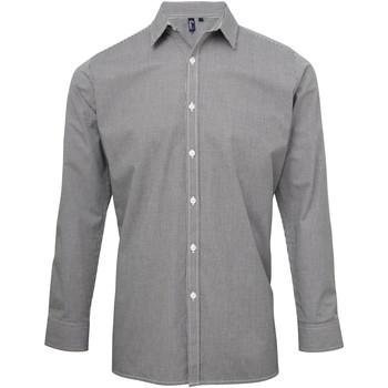 Textil Homem Camisas mangas comprida Premier Microcheck Preto/branco