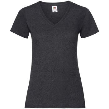 Textil Mulher T-Shirt mangas curtas Fruit Of The Loom 61398 Heather Negra