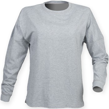 Textil Homem T-shirt mangas compridas Skinni Fit Slogan Heather Grey