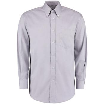 Textil Homem Camisas mangas comprida Kustom Kit KK105 Cinza Prata