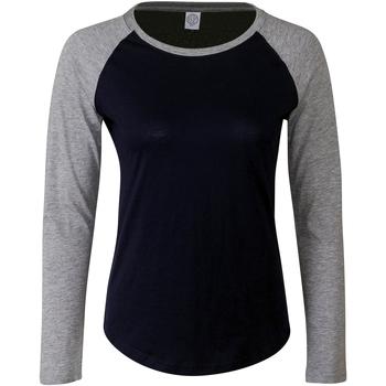 Textil Mulher T-shirt mangas compridas Skinni Fit SK271 Oxford Navy/Heather Grey