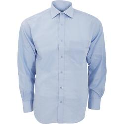 Textil Homem Camisas mangas comprida Kustom Kit KK116 Azul claro