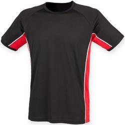 Textil Homem T-Shirt mangas curtas Finden & Hales LV240 Preto/ Vermelho/ Branco