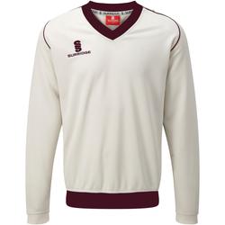 Textil Homem Sweats Surridge SU008 Branco/ Maroon trim