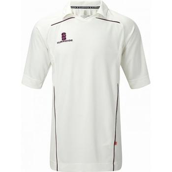 Textil Homem T-Shirt mangas curtas Surridge SU009 Branco/ Maroon trim