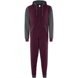 Textil Macacões/ Jardineiras Comfy Co CC003 Borgonha/Carvão