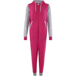 Textil Macacões/ Jardineiras Comfy Co CC003 Rosa quente/Cinza de couro