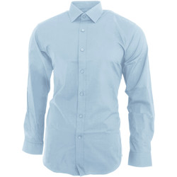 Textil Homem Camisas mangas comprida Brook Taverner BK130 Azul Céu
