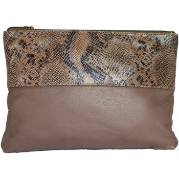 Malas Mulher Pouch / Clutch Eastern Counties Leather  Taupe/Beige Foil