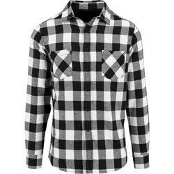 Textil Homem Camisas mangas comprida Build Your Brand BY031 Preto / Branco