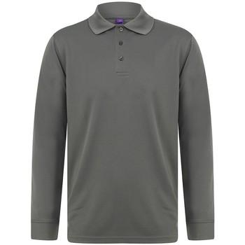 Textil Homem Polos mangas compridas Henbury HB478 Cinza Carvão Vegetal