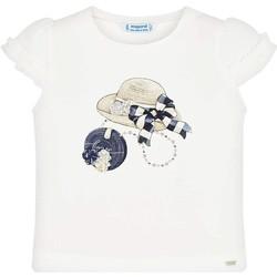 Textil Rapariga T-Shirt mangas curtas Mayoral Kids Camiseta m/c volante manga Crd-marino beige