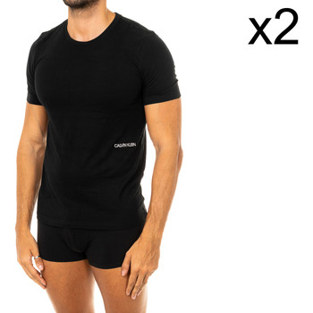 Roupa de interior Homem Camisolas de interior Calvin Klein Jeans Pack-2 Camisetas M/Corta C.Klein Preto
