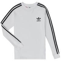 Textil Rapaz T-shirt mangas compridas adidas Originals 3STRIPES LS Branco