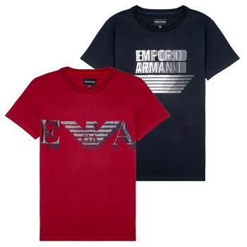 Textil Rapaz T-Shirt mangas curtas Emporio Armani 6H4D22-4J09Z-0353 Preto / Vermelho