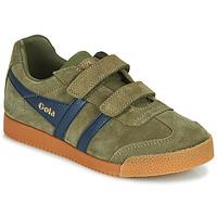 Sapatos Criança Sapatilhas Gola HARRIER VELCRO Cáqui / Marinho
