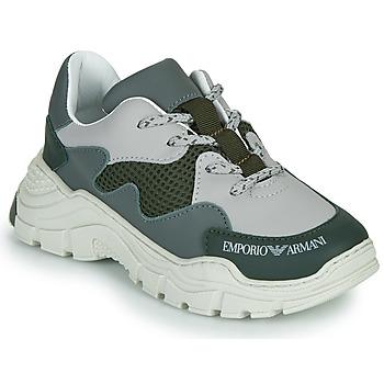 Sapatos Criança Sapatilhas Emporio Armani XYX008-XOI34 Verde / Cinza