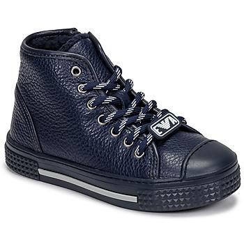 Sapatos Criança Sapatilhas de cano-alto Emporio Armani XYZ004-XOI25 Marinho