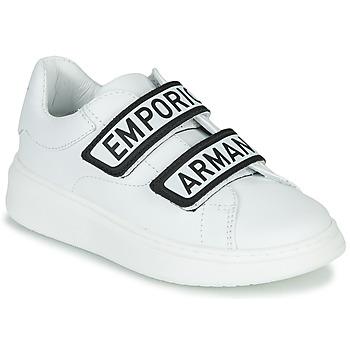 Sapatos Criança Sapatilhas Emporio Armani  Branco / Preto