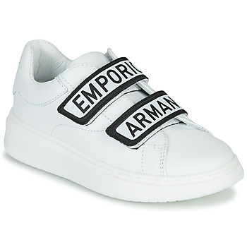 Sapatos Criança Sapatilhas Emporio Armani XYX007-XCC70 Branco / Preto