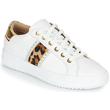 Sapatos Mulher Sapatilhas Geox PONTOISE Branco / Leopardo
