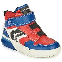 Sapatos Rapaz Sapatilhas de cano-alto Geox GRAYJAY Vermelho / Azul