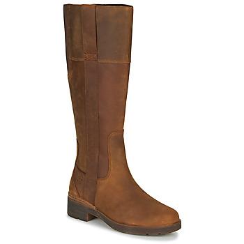 Sapatos Mulher Botas Timberland GRACEYNTALLSIDEZIPWP Castanho