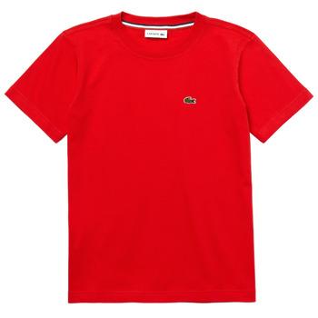 Textil Rapaz T-Shirt mangas curtas Lacoste TJ1442-F8M-J Vermelho