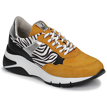 Sapatos Mulher Sapatilhas Tamaris ELLE Mostarda / Preto / Zebra