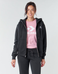 Textil Mulher Sweats Converse CONVERSE WOMENS FOUNDATION FULL ZIP HOODIE Preto