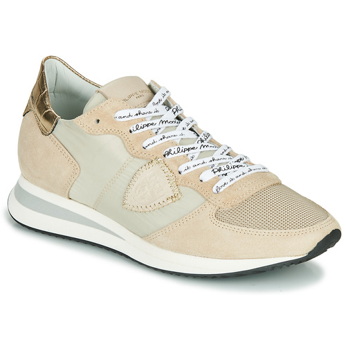 Sapatos Mulher Sapatilhas Philippe Model TROPEZ X MONDIAL CROCO Bege