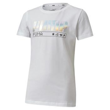 Textil Rapariga T-Shirt mangas curtas Puma ALPHA TEE Branco
