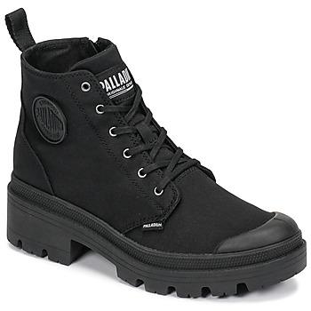 Sapatos Mulher Botas baixas Palladium PALLABASE TWILL Preto