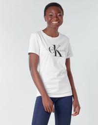 Textil Mulher T-Shirt mangas curtas Calvin Klein Jeans CORE MONOGRAM LOGO REG FIT Branco