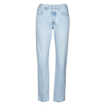 Textil Mulher Gangas boyfriend Levi's 501 CROP Branco / azul céu