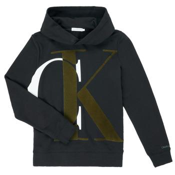 Textil Rapaz Sweats Calvin Klein Jeans IB0IB00628-BEH Preto