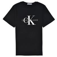 Textil Criança T-Shirt mangas curtas Calvin Klein Jeans MONOGRAM Preto