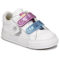 Sapatos Rapariga Sapatilhas Converse STAR PLAYER 2V GLITTER TEXTILE OX Branco / Azul / Rosa