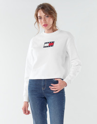 Textil Mulher Sweats Tommy Jeans TJW TOMMY FLAG CREW Branco