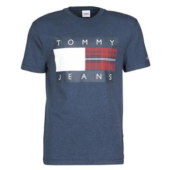Textil Homem T-Shirt mangas curtas Tommy Jeans TJM PLAID CENTRE FLAG TEE Marinho