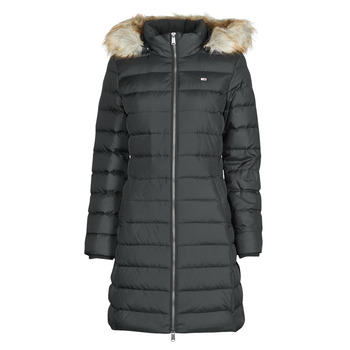 Textil Mulher Quispos Tommy Jeans TJW ESSENTIAL HOODED DOWN COAT Preto