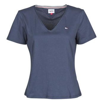Textil Mulher T-Shirt mangas curtas Tommy Jeans TJW SLIM JERSEY V NECK Marinho