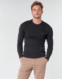 Textil Homem T-shirt mangas compridas Tommy Hilfiger STRETCH SLIM FIT LONG SLEEVE TEE Preto