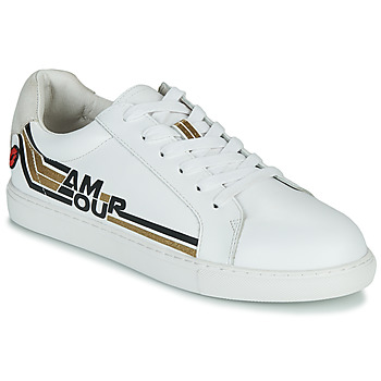 Sapatos Mulher Sapatilhas Bons baisers de Paname SIMONE AMOUR RETRO Branco / Ouro